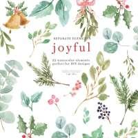 Watercolor Christmas Clipart, Greenery Leaves Holly Eucalyptus Mistletoe Jingle Bell PNG Graphics