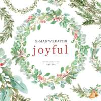 Watercolor Christmas Wreath Clipart, Greenery Holiday Card Borders PNG Graphics