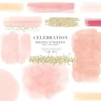 Blush Pink Peach Cream Pastel Digital Watercolor Brush Strokes Textures Clipart PNG