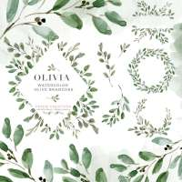 Watercolor Olive Branch Leaves Clipart, Rustic Laurel Wreath Clipart, Greenery Wedding Invitation