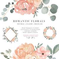 Watercolor Floral Clip Art, Peach Blush Pink Sage Dusty Green Romantic Flower Background PNG, Wedding Birthday Invitations