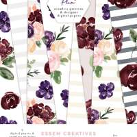 Floral Digital Paper, Burgundy Blush Watercolor Fall Scrapbooking Paper Seamless Repeat Patterns