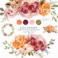 Watercolor Fall Floral Clipart, Orange Rust Thanksgiving Invitation Flowers Graphics