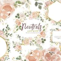 Neutrals with Gold Watercolor Floral Borders Wreath Frames Bouquet Clipart Graphics with Transparent Background