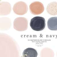 Instagram Story Highlight Covers Blush Cream and Navy Blue Watercolor Circles Shapes Clipart Graphics Instant Download Commercial Use