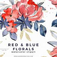 4th of July Watercolor Flowers Clipart PNG Background, Red Blue Gold Watercolor Florals Commercial Use