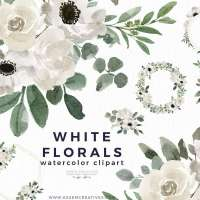 White Watercolor Flowers Clipart Background Border Wreath Bouquet, Watercolor Floral Corners Frames Graphics