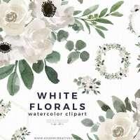 White Watercolor Flowers Clipart Background Border Wreath Bouquet, Watercolor Floral Corners Frames Graphics