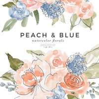 Peach and Blue Watercolor Flowers Clipart Illustration Graphics, Spring Summer Florals for Wedding Invitations Bridal Shower Baby Shower
