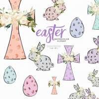 Easter Clipart, Hip Hop Easter Bunny Rabbits, Easter Egg Hunt Clip Art Graphics, Cross Leopard Animal Print