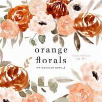 Orange Watercolor Flowers Clipart, Boho Rustic Fall Floral Wreath Frames Borders with Transparent Background