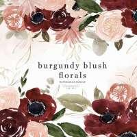 Burgundy Blush Floral Clipart, Watercolor Fall Flower Wreath Border Frame for Wedding Invites Logo Branding