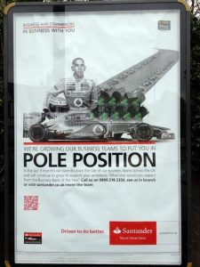 Santander-brand-advert-pole-position