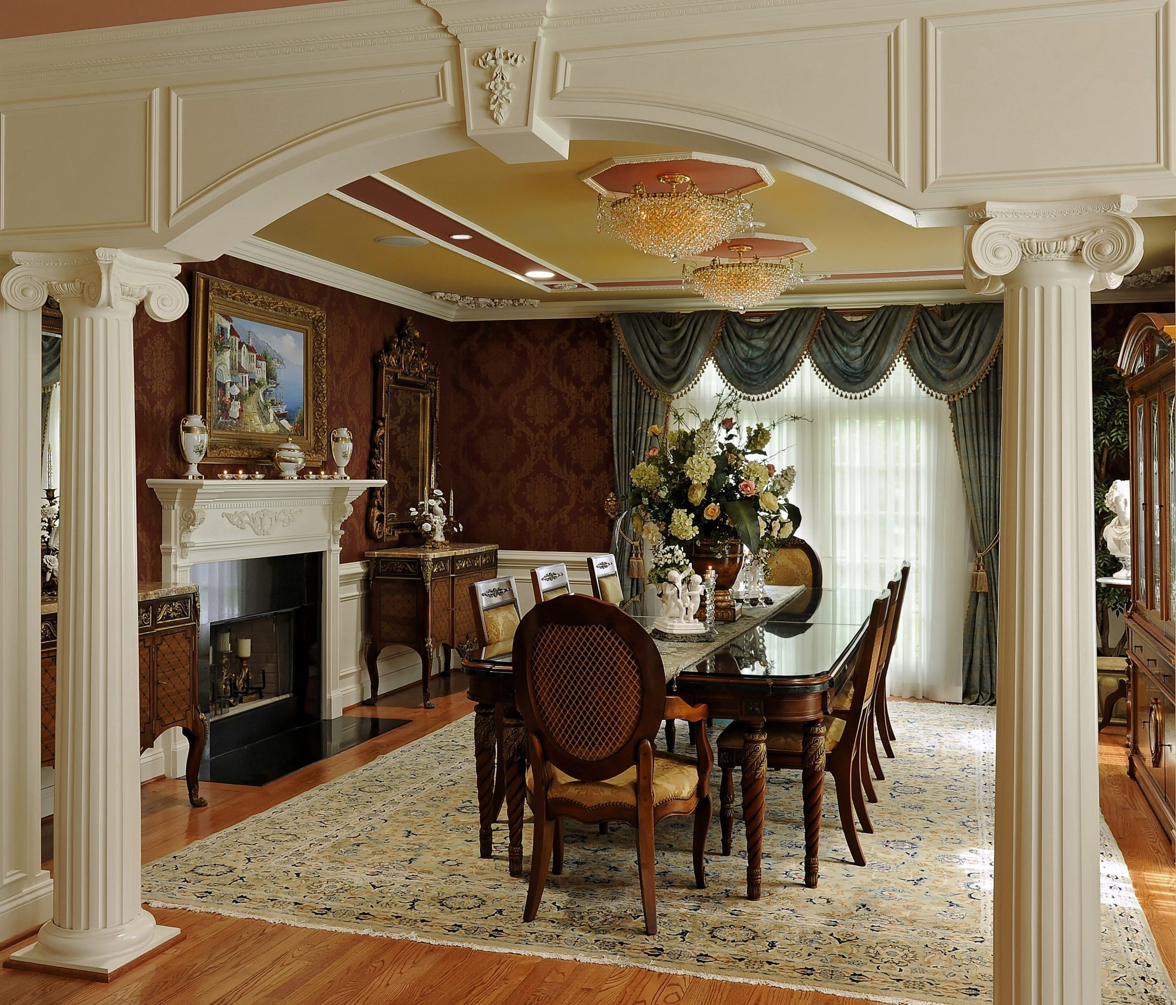 Potomac-MD-Interior-Designer-Shiva-Rostami-Dining-Room-entrance-feature-millwork-McLean-VA