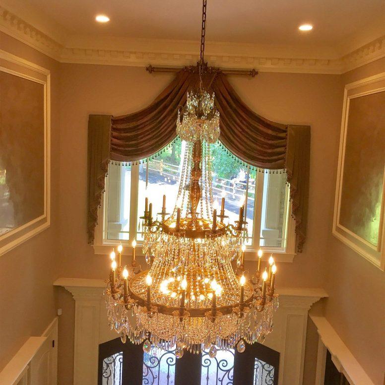 Potomac-MD-Interior-Designer-Shiva-Rostami-GreatFalls-VA-project-Foyer-custom-draperies-grand-chandelier