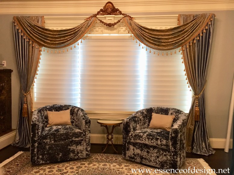 Potomac-Maryland-Interior-Designer-Shiva-Rostami-master-bedroom-Great-Falls-Va-custom-drapes-blue-gold