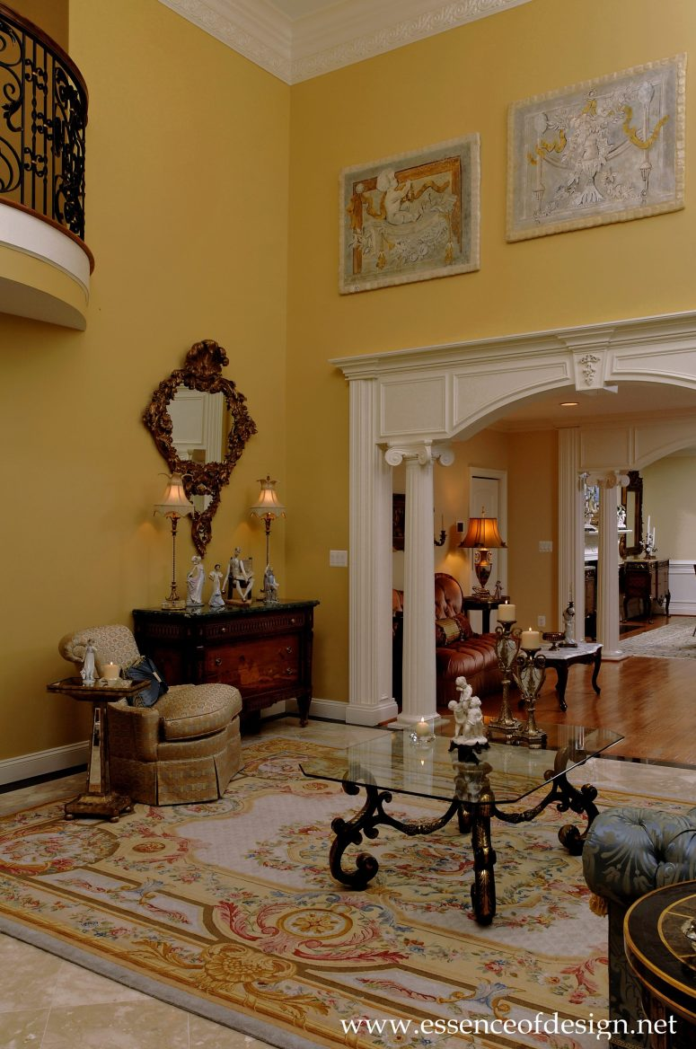 Potomac-Maryland-interior-designer-Shiva-Rostami-living-room-high-ceiling-Savonnerie-rug-McLean-VA