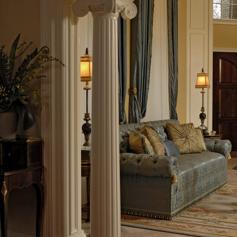Potomac-Maryland-interior-designer-Shiva-Rostami-living-room-highend-residence-McLean-VA-blue-sofa