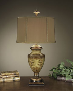 John-Richard urn lamp in brown finish and antique brass accents