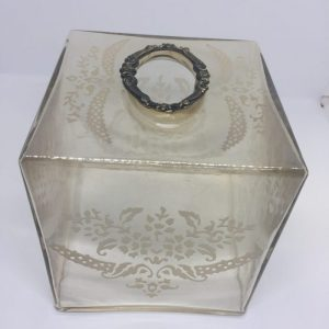 Glass Tissue Holder Golden Color With Design
