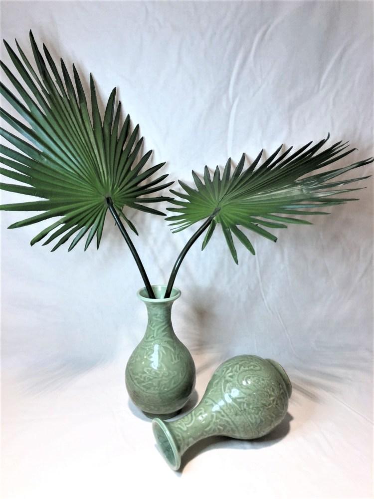 Small Jade Green Color Oriental Embossed Porcelain Vases, 4.5 diam x 8.5h