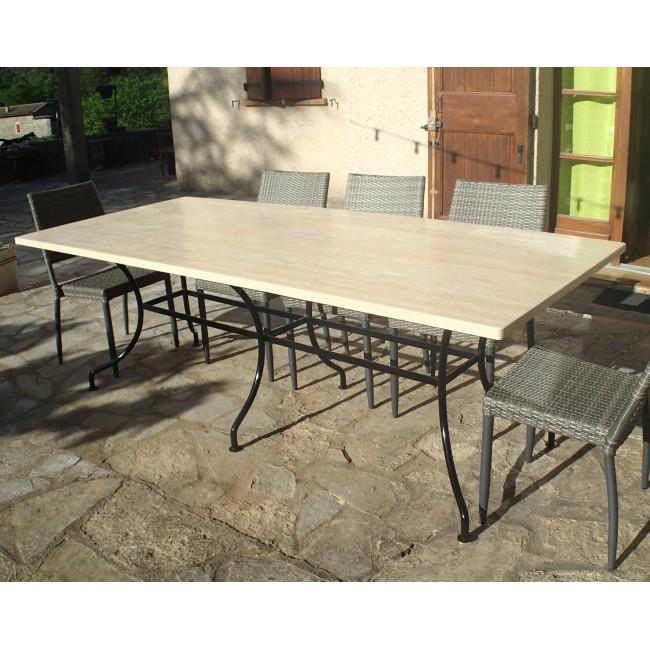 table rectangulaire en fer forge et plateau marbre ou granit authentique sur mesure
