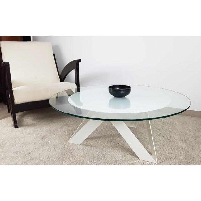table basse ronde 100 cm verre et metal sur mesure rayons