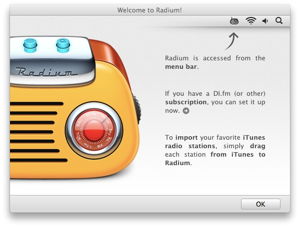 Radium1 Review : Radium, a slim, menu bar based internet radio player