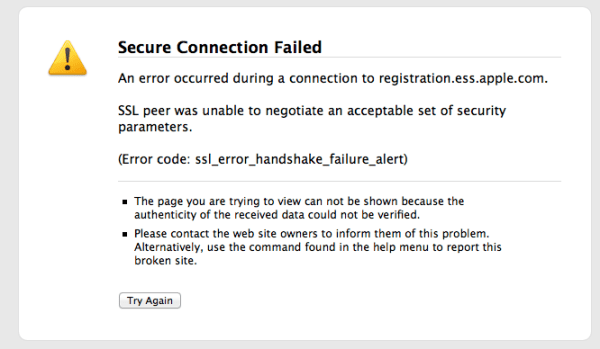 Facetime Cert Error Facetime Error : The server encountered an error processing registration please try again later