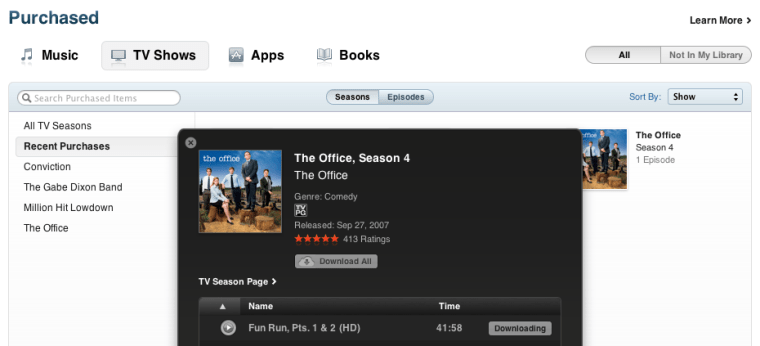 Apple iTunes 10 1 purchased section tv shows Apple rolls out iCloud TV : now possible to re download purchased television shows in iTunes.