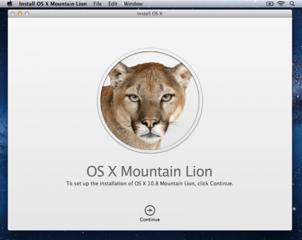 Install OS X Mountain Lion 1 600x477 Mountain Lion Installer ScreenShots