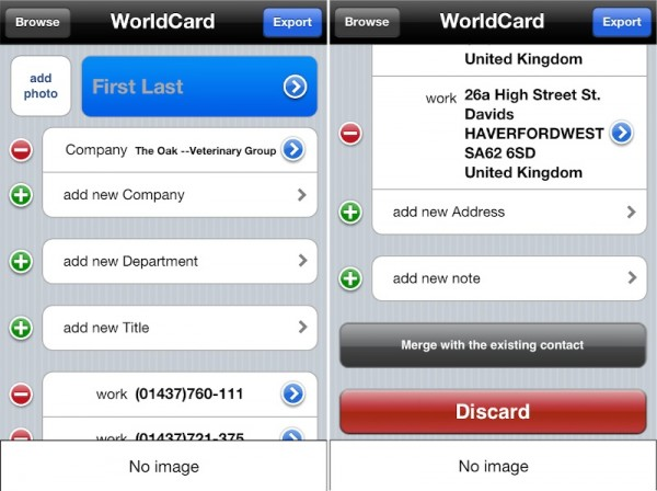 WorldCard Mobile Results 600x448 WorldCard Mobile iPhone Business Card Scanner Review