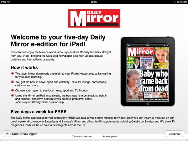 1354624991 Daily Mirror Free For iPad owners