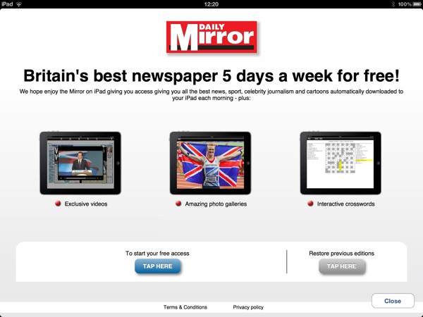1354625045 Daily Mirror Free For iPad owners