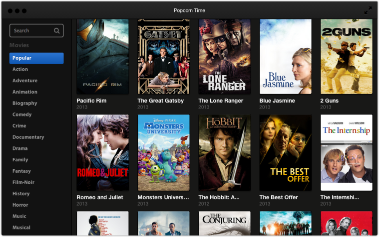 PopCorn Content Popcorn Time.  Stream movies from Torrents