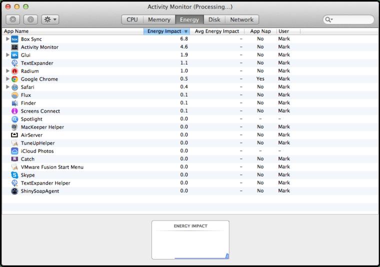 Mavericks Activity Monitor Energy Tab Differences Between OS X Yosemite And OS X Mavericks Activity Monitor