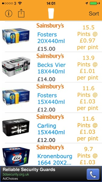 Pintsaver Sainsburys 20 x 440 Fosters AOTD: PintSaver.  Find the Best Beer Deals Right From Your iPhone