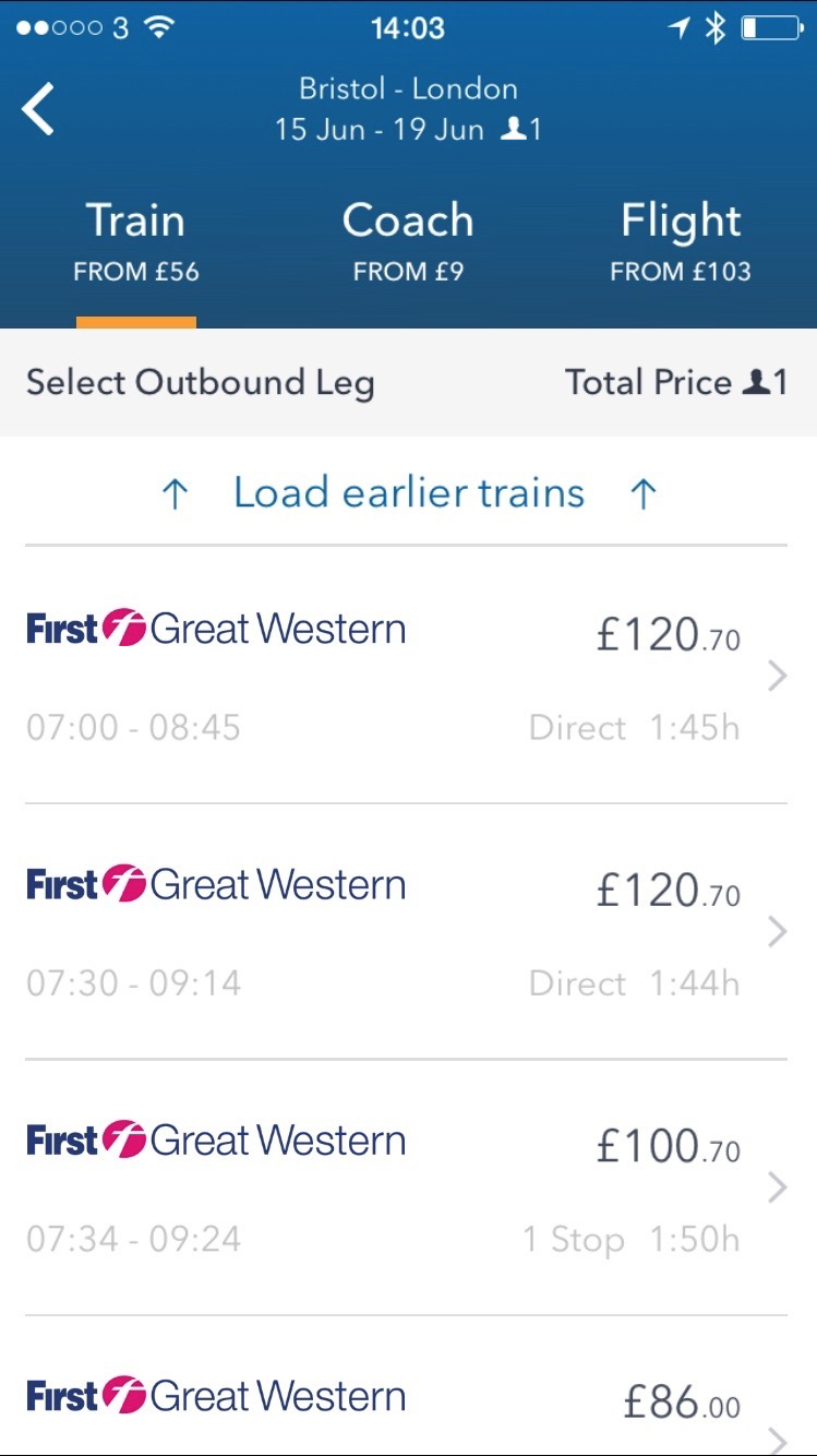 GoEuro. The Ultimate Three in one search for rail, coach and air providers in a simple to use app