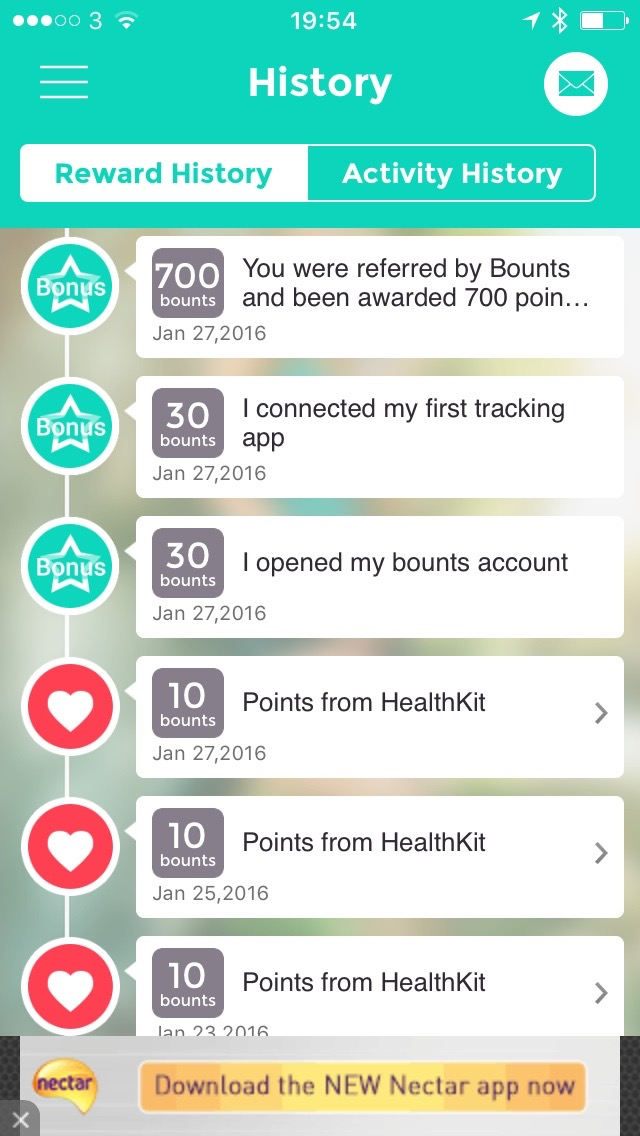 Bounts Reward History Bounts Review : Get Paid For Walking