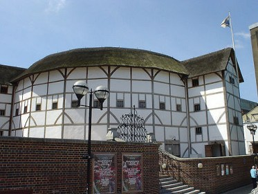 Exterior of the Globe Theatre in the sun