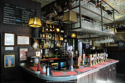The pewter bar top of The Grenadier pub