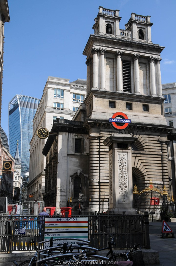 St Mary Woolnoth (Hawksmoor) and 20 Fenchurch Street (Vinoly). The top section of 20 Fenchurch Street is dubbed the 'Sky Garden'