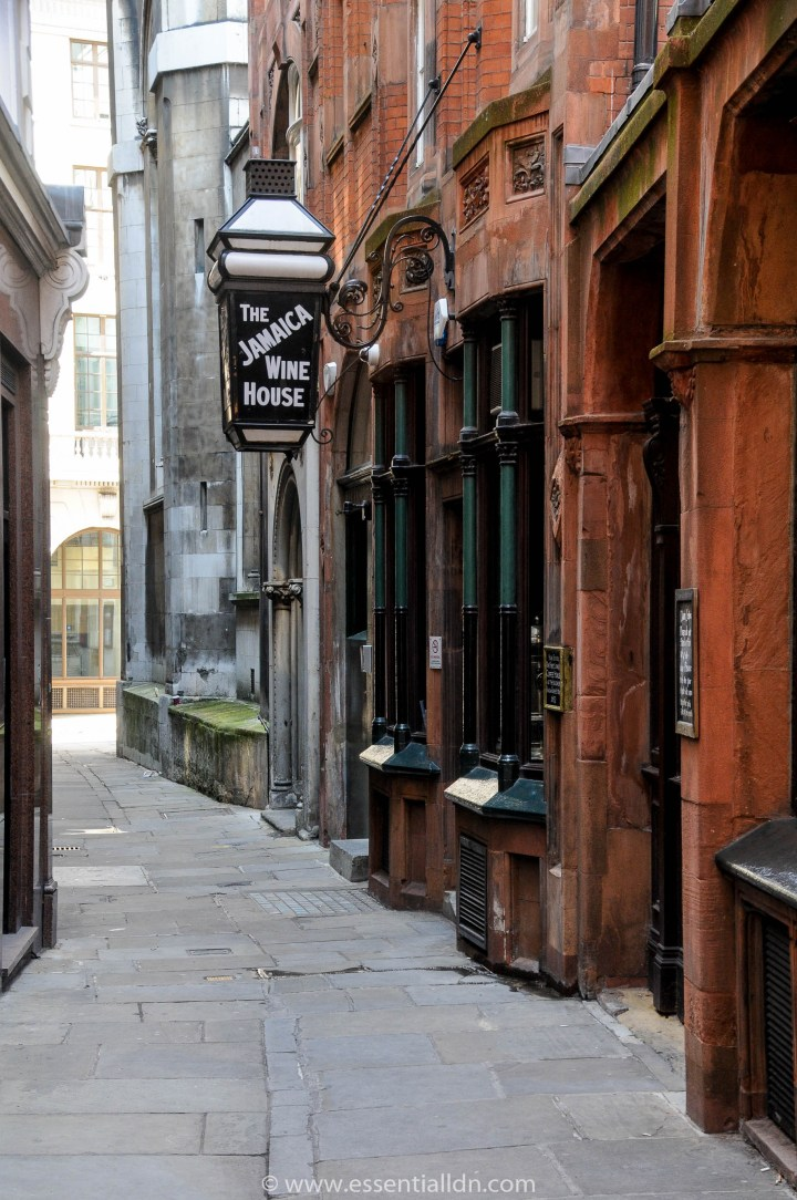 St Michael's Alley.  The Jamaica Wine House is on the site of London's first coffee house - Pasqual Rosee's Head (1652).