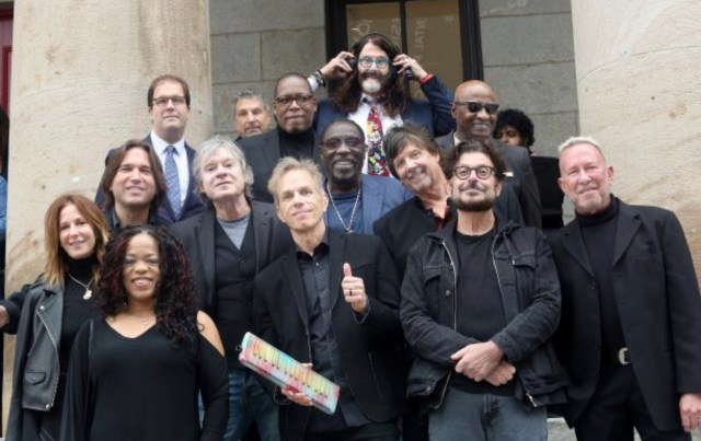 The Philadelphia Music Alliance Class of 2019 gathers at the afternoon induction ceremonies today along the Philadelphia Music Walk of Fame. Credit: Scott Weiner