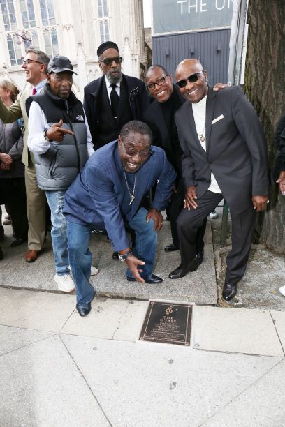 Legendary Sound of Philadelphia producers Kenny Gamble and Leon Huff join the O'Jays as the multi-platinum R&B vocal group's newly installed plaque is unveiled this afternoon along the Philadelphia Music Alliance Walk of Fame. Credit: Scott Weiner.