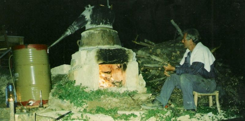 The very first distillation with a traditional Cretan still: Levendula (Lavandula stoechas) in 1994