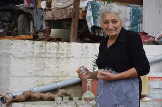 Cretan hospitality #1 Raki - Kiria Olga is welcoming our group