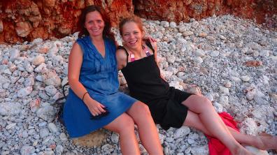 Ildiko and Noemi having inspiring conversations on the beach