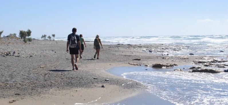 Beach walk on a windy day