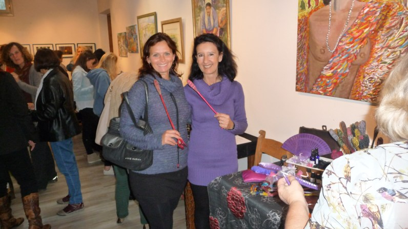 Gill and Ildiko with scented colorful lavender wands at an arts&crafts fair